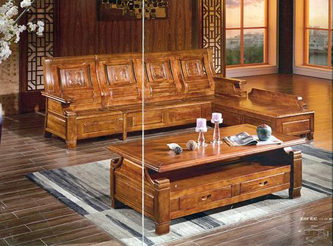 金樟居实木家具_> 转角沙发金樟居-转角沙发 市场价:12400元 特价:6980元